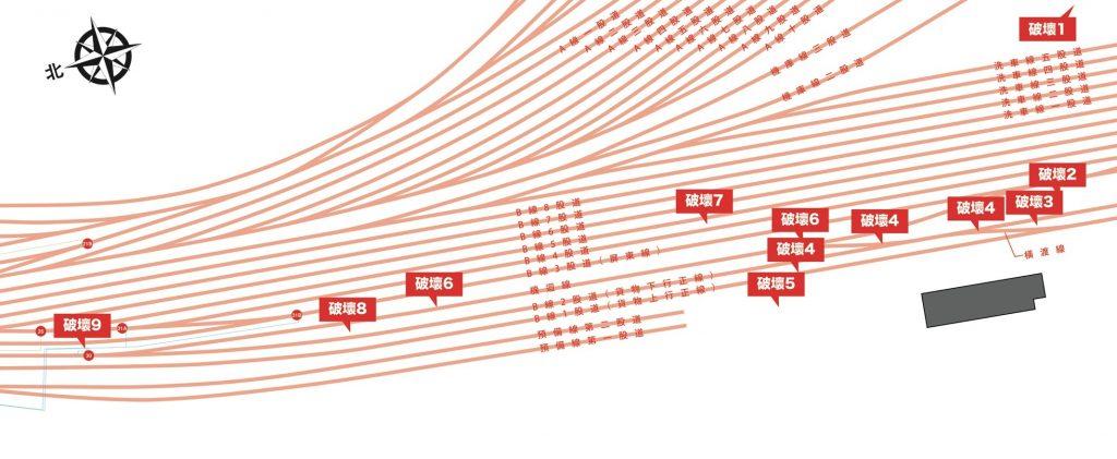 高雄港站路線配置搭配高雄輕軌破壞區域